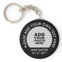 name, text & special date, photo black keychain