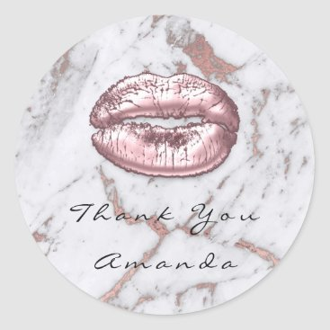 Name Thank You Kiss Glitter Marble Rose Gold Pink Classic Round Sticker