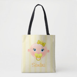 """Name This!"" Baby Face Yellow All-Over-Print Tote"