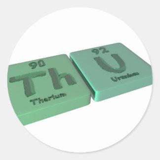 name-Thu-Th-U-Thorium-Uranium Classic Round Sticker