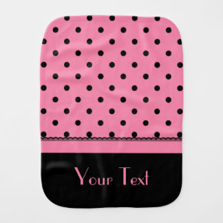 Name Tube Sock Black Polka Dots hot pink Burp Cloth
