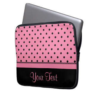 Name Tube Sock Black Polka Dots hot pink Computer Sleeve