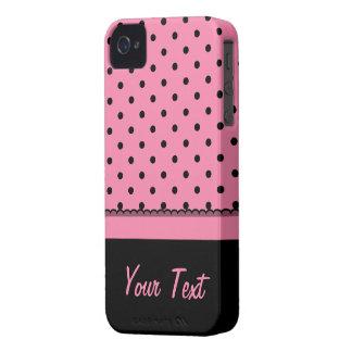Name Tube Sock Black Polka Dots hot pink iPhone 4 Case-Mate Cases