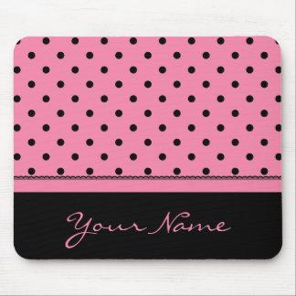 Name Tube Sock Black Polka Dots hot pink Mouse Pad