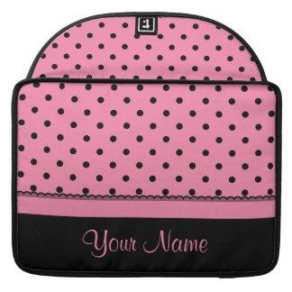 Name Tube Sock Black Polka Dots hot pink Sleeve For MacBook Pro