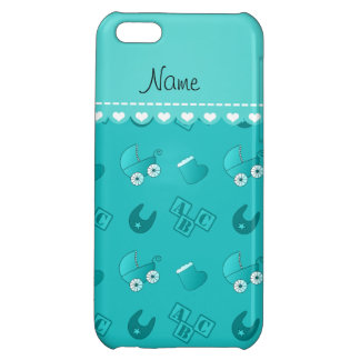 Name turquoise baby bib blocks carriage booties iPhone 5C covers