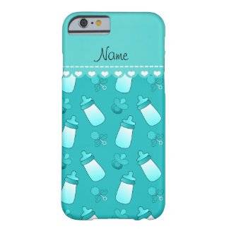Name turquoise baby bottle rattle pacifier barely there iPhone 6 case