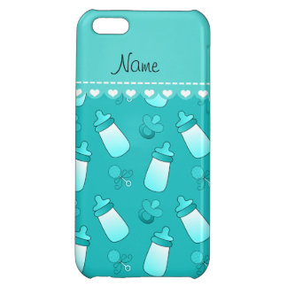 Name turquoise baby bottle rattle pacifier case for iPhone 5C