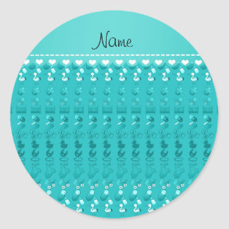 Name turquoise baby bottle rattle pacifier stork classic round sticker