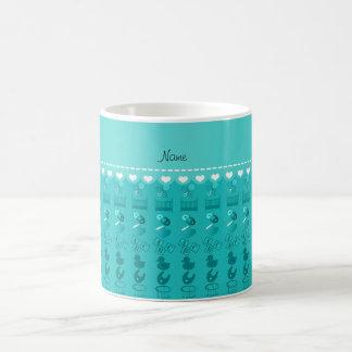 Name turquoise baby bottle rattle pacifier stork coffee mug