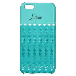 Name turquoise baby bottle rattle pacifier stork cover for iPhone 5C