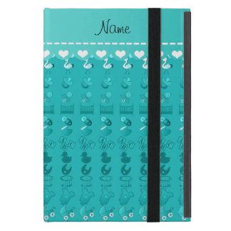 Name turquoise baby bottle rattle pacifier stork iPad mini covers