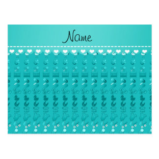 Name turquoise baby bottle rattle pacifier stork postcard
