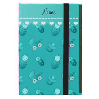 Name turquoise baby pin carriage pacifier case for iPad mini