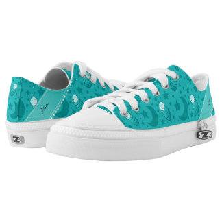 Name turquoise baby teddy bear stars moons Low-Top sneakers