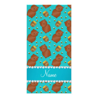 Name turquoise bears honeypots bees pattern photo card