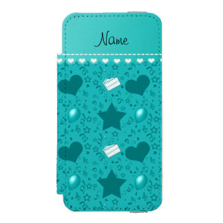 Name turquoise birthday cake balloons hearts stars iPhone SE/5/5s wallet case