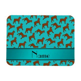 Name turquoise Bouvier des Flandres dogs Rectangular Photo Magnet