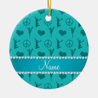 Name turquoise cheerleading hearts peace sign ceramic ornament
