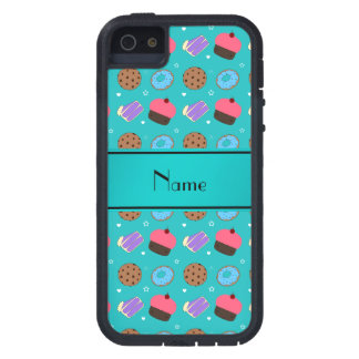 Name turquoise cupcake donuts cake cookies case for iPhone 5