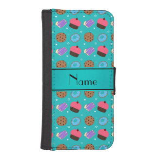 Name turquoise cupcake donuts cake cookies phone wallet case