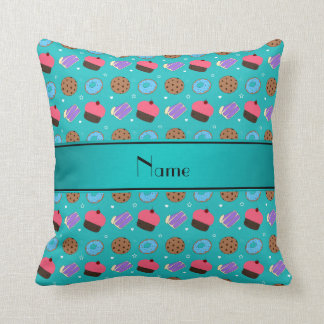 Name turquoise cupcake donuts cake cookies throw pillow