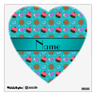 Name turquoise cupcake donuts cake cookies room stickers