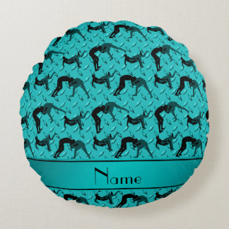 Name turquoise diamond steel plate wrestling round pillow