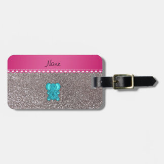 Name turquoise elephant silver glitter bag tag