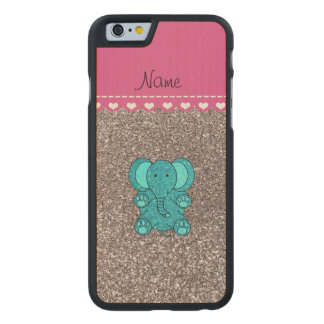 Name turquoise elephant silver glitter carved maple iPhone 6 slim case