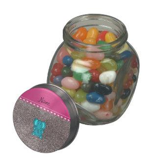 Name turquoise elephant silver glitter glass jar