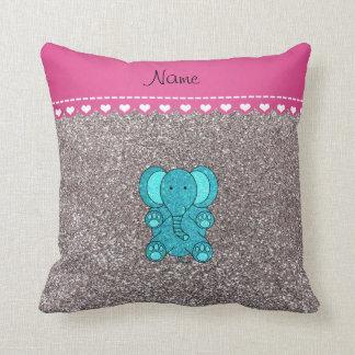 Name turquoise elephant silver glitter throw pillow