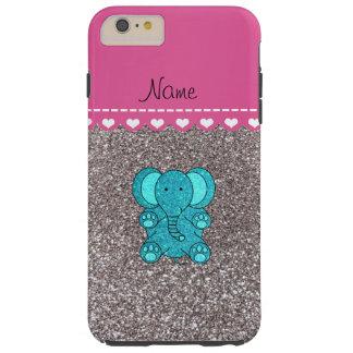 Name turquoise elephant silver glitter tough iPhone 6 plus case