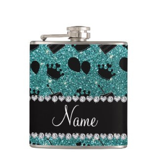 Name turquoise glitter crowns balloons cake hip flask