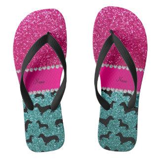 Name turquoise glitter dachshunds pink glitter flip flops