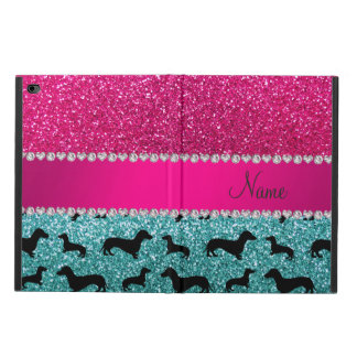 Name turquoise glitter dachshunds pink glitter powis iPad air 2 case