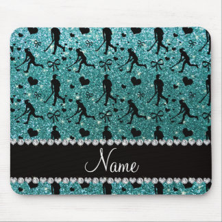 Name turquoise glitter field hockey hearts bows mouse pad