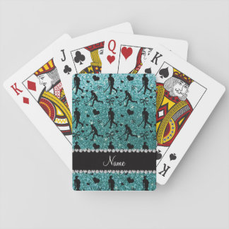 Name turquoise glitter field hockey hearts bows playing cards