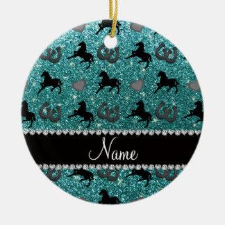 Name turquoise glitter horses hearts horseshoe ceramic ornament