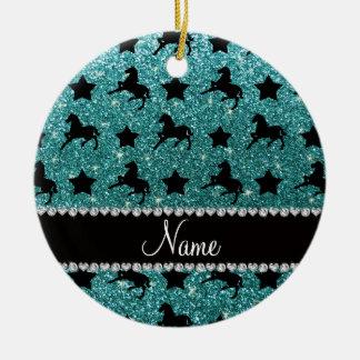 Name turquoise glitter horses stars ceramic ornament