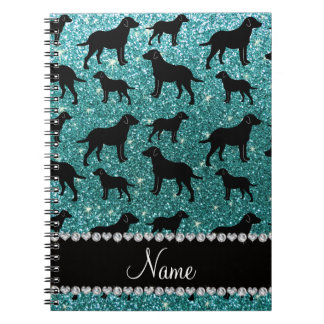 Name turquoise glitter labrador retrievers spiral note books