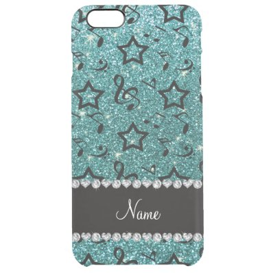 Name turquoise glitter music notes stars clear iPhone 6 plus case