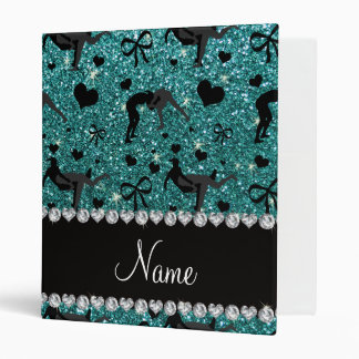 Name turquoise glitter wrestling hearts bows 3 ring binder