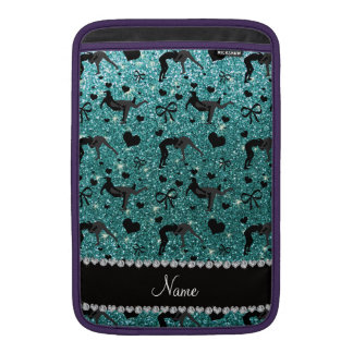 Name turquoise glitter wrestling hearts bows MacBook sleeve