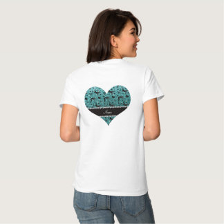 Name turquoise glitter wrestling hearts bows tee shirt