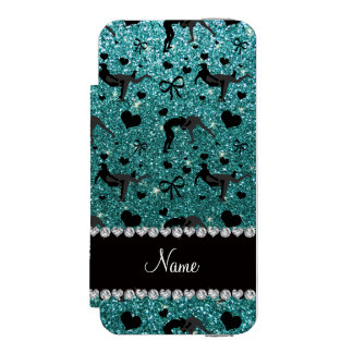 Name turquoise glitter wrestling hearts bows wallet case for iPhone SE/5/5s