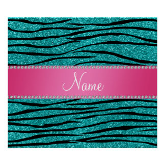 Name turquoise glitter zebra stripes pink stripe posters