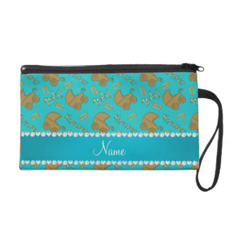 Name turquoise gold baby carriages pins baby wristlet clutch
