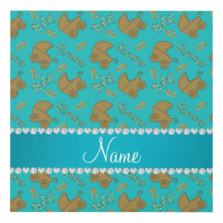 Name turquoise gold baby carriages pins baby panel wall art