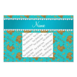 Name turquoise gold baby carriages pins baby photo print